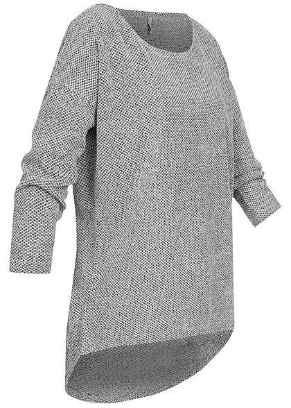 ONLY Damen NOOS 3/4-Arm Struktur Shirt Vokuhila hell grau