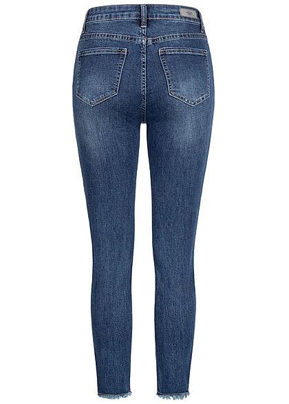 Hailys Damen Skinny Jeans Hose High-Waist 5-Pockets Fransen am Beinabschluss dunkel blau