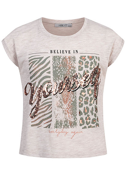 Hailys Kids Mädchen T-Shirt YOURSELF Glitzer Pailletten beige melange gold - Art.-Nr.: 20084154