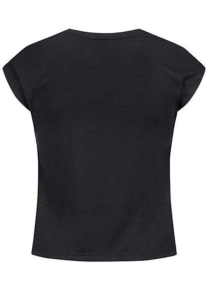 Hailys Kids Mädchen T-Shirt WILD Pailletten Glitzer Leo Print Strasssteine schwarz