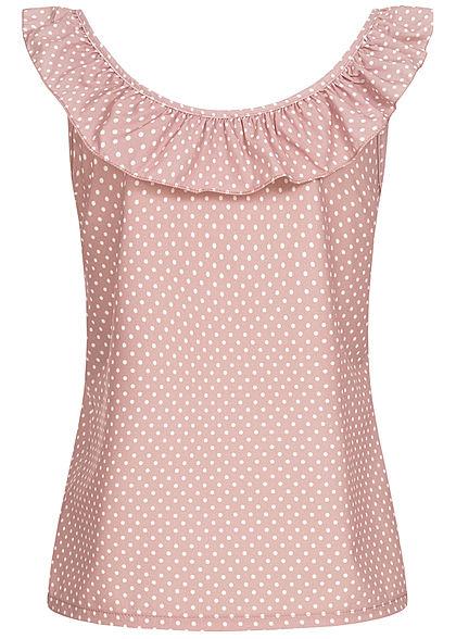 Styleboom Fashion Damen V-Neck Rüschen Top Punkte Muster rosa weiss