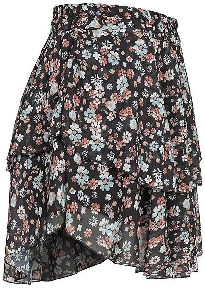 Styleboom Fashion Damen Mini Stufenrock 2-lagig Blumen Muster schwarz