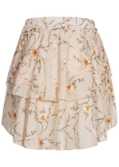 Styleboom Fashion Damen Mini Stufenrock 2-lagig Floraler Print beige