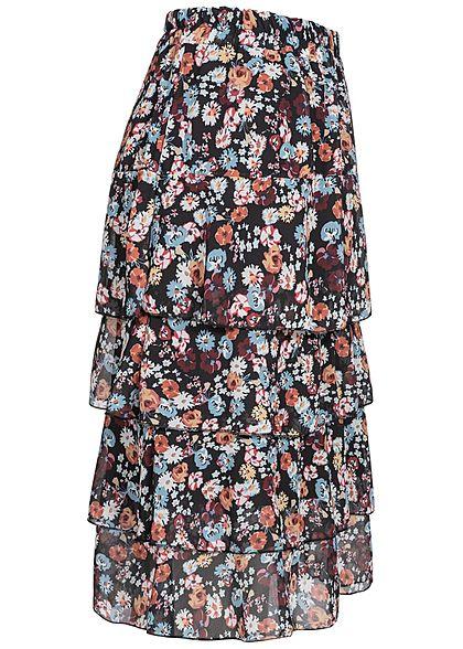 Styleboom Fashion Damen Midi Stufenrock 2-lagig Blumen Muster schwarz