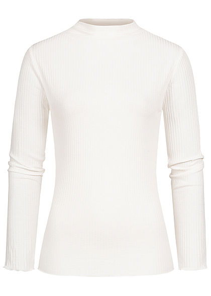 Styleboom Fashion Damen Ribbed Longsleeve Frilldetails off weiss