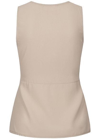 Styleboom Fashion Damen V-Neck Top Wickeloptik Bindedetail beige