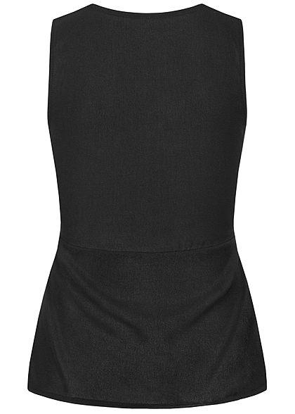 Styleboom Fashion Damen V-Neck Top Wickeloptik Bindedetail schwarz