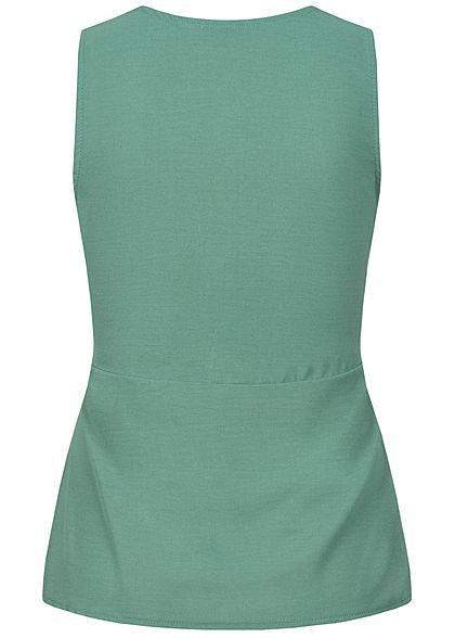 Styleboom Fashion Damen V-Neck Top Wickeloptik Bindedetail balsam grün