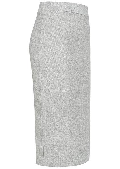 Styleboom Fashion Damen Ribbed Midi Bleistift Rock hell grau
