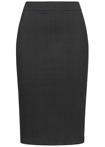 Styleboom Fashion Damen Ribbed Midi Bleistift Rock schwarz
