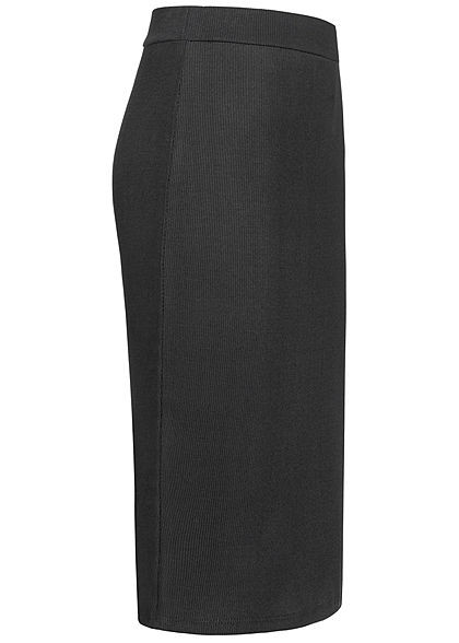 Styleboom Fashion Damen Ribbed Midi Bleistift Rock schwarz