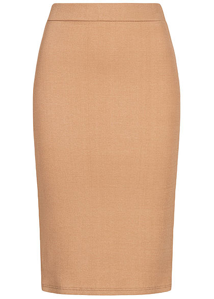Styleboom Fashion Damen Ribbed Midi Bleistift Rock camel braun