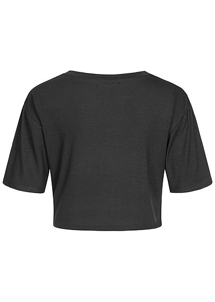 Styleboom Fashion Damen Cropped T-Shirt Oversized schwarz