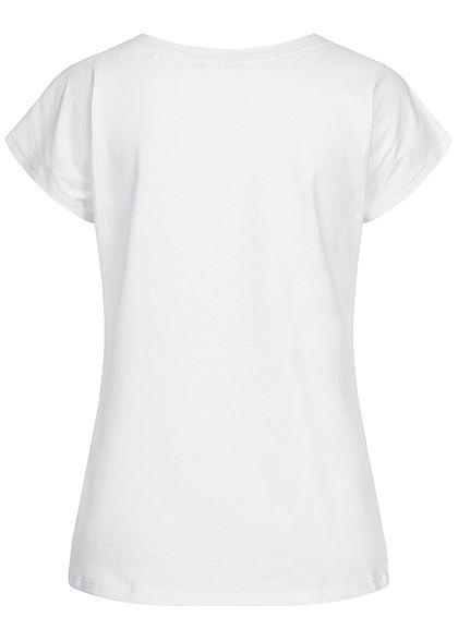 Styleboom Fashion Damen T-Shirt Vokuhila Anker Print weiss