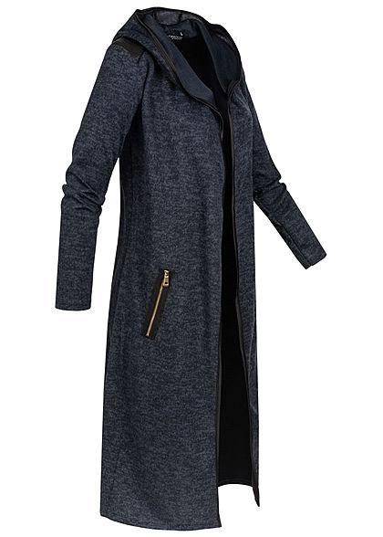 Styleboom Fashion Damen Longform Melange Cardigan navy blau