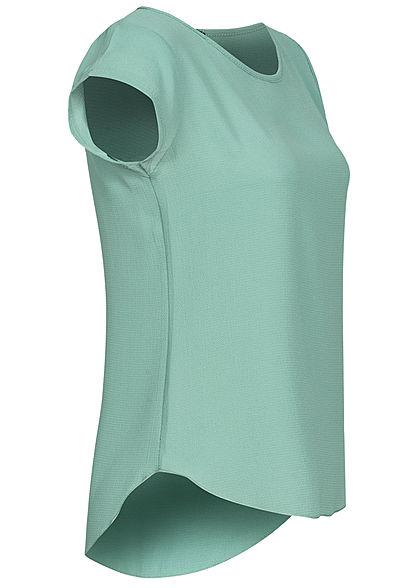 Styleboom Fashion Damen Blusen Kreppshirt Zipper hinten jade dunkel grün