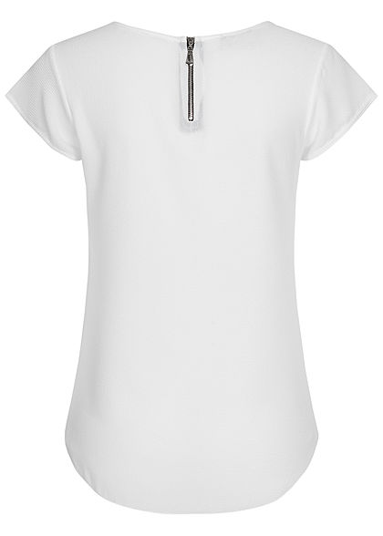 Styleboom Fashion Damen Blusen Kreppshirt Zipper hinten weiss