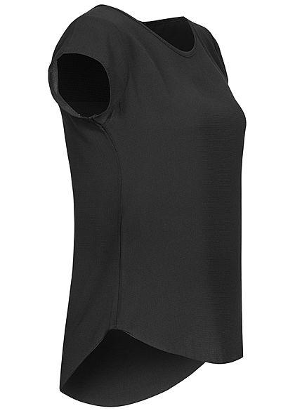 Styleboom Fashion Damen Blusen Kreppshirt Zipper hinten schwarz