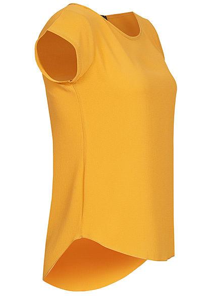 Styleboom Fashion Damen Blusen Kreppshirt Zipper hinten gelb