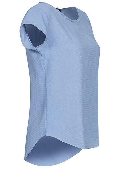 Styleboom Fashion Damen Blusen Kreppshirt Zipper hinten jeans blau denim