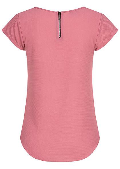 Styleboom Fashion Damen Blusen Kreppshirt Zipper hinten wood rosa