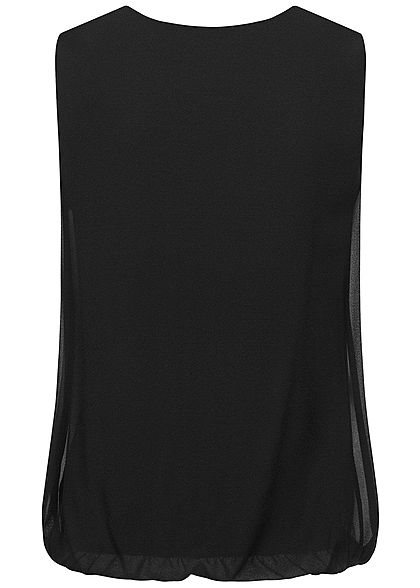 Styleboom Fashion Damen V-Neck Chiffon Top Wasserfall Optik schwarz