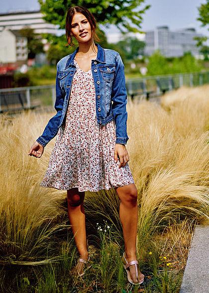Styleboom Fashion Damen V-Neck Puffer Stufenkleid Blumen Muster weiss beige