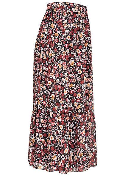 Styleboom Fashion Damen Longform Chiffon Rock Blumen Muster 2-lagig schwarz