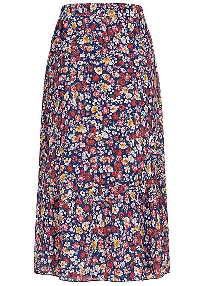Styleboom Fashion Damen Longform Chiffon Rock Blumen Muster 2-lagig navy blau