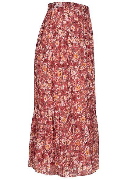 Styleboom Fashion Damen Longform Chiffon Rock Blumen Muster 2-lagig rosa