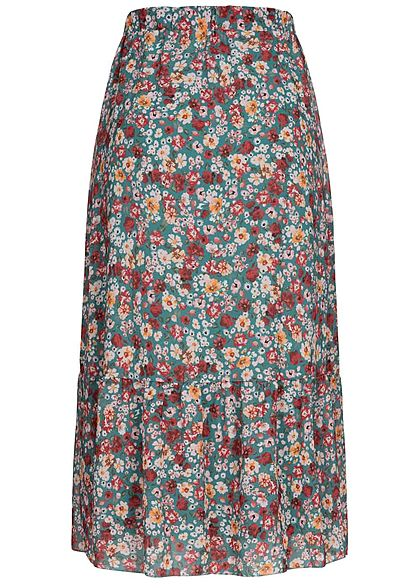 Styleboom Fashion Damen Longform Chiffon Rock Blumen Muster 2-lagig jade grün