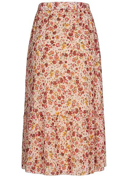 Styleboom Fashion Damen Longform Chiffon Rock Blumen Muster 2-lagig beige