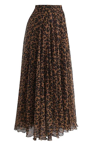Styleboom Fashion Damen Longform Rock Leo Print braun schwarz