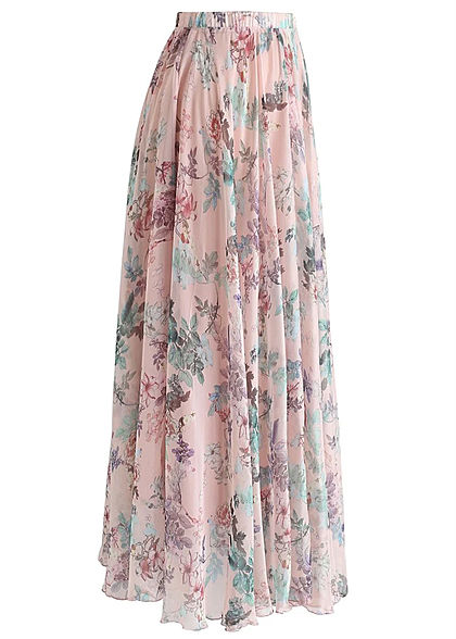 Styleboom Fashion Damen Longform Rock Blumen Muster rosa