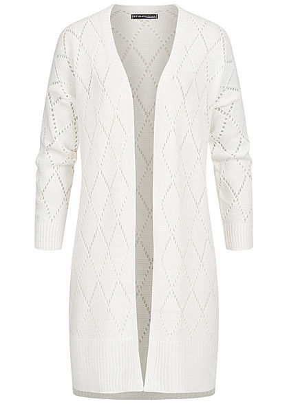 Styleboom Fashion Damen Longform Strickcardigan Rauten Muster off weiss