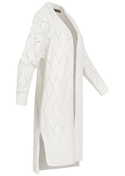 Styleboom Fashion Damen Longform Strickcardigan Rauten Muster off weiss