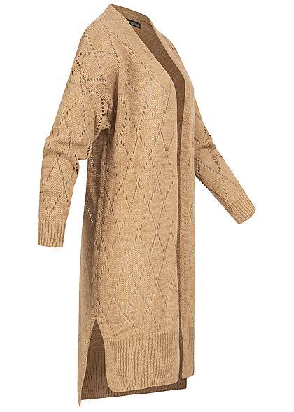 Styleboom Fashion Damen Longform Strickcardigan Rauten Muster camel braun