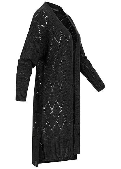 Styleboom Fashion Damen Longform Strickcardigan Rauten Muster schwarz