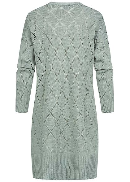 Styleboom Fashion Damen Longform Strickcardigan Rauten Muster jade grün