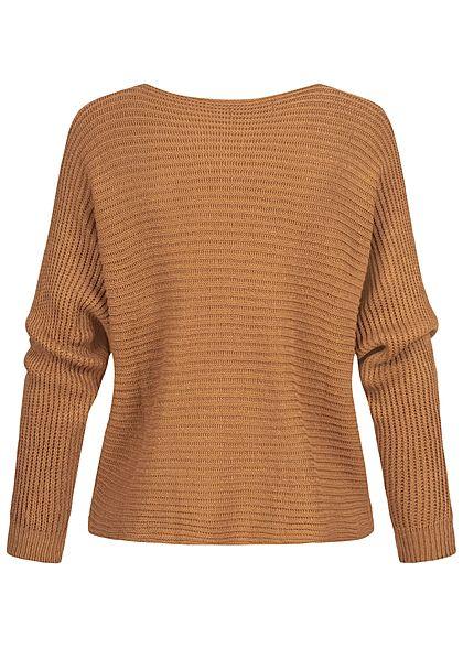 Styleboom Fashion Damen Oversized Strickpullover Fledermausärmel camel dk braun