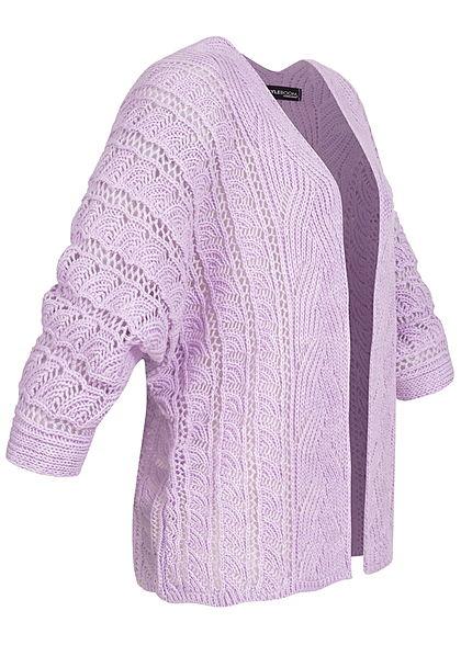 Styleboom Fashion Damen Strickcardigan Lochmuster Rückenausschnitt lila