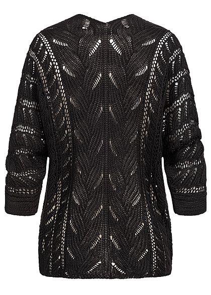 Styleboom Fashion Damen Strickcardigan Lochmuster Rückenausschnitt schwarz