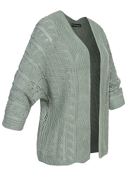 Styleboom Fashion Damen Strickcardigan Lochmuster Rückenausschnitt jade grün