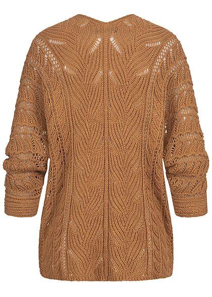 Styleboom Fashion Damen Strickcardigan Lochmuster Rückenausschnitt camel braun