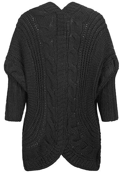 Styleboom Fashion Damen Grobstrick Cardigan Rückenausschnitt schwarz