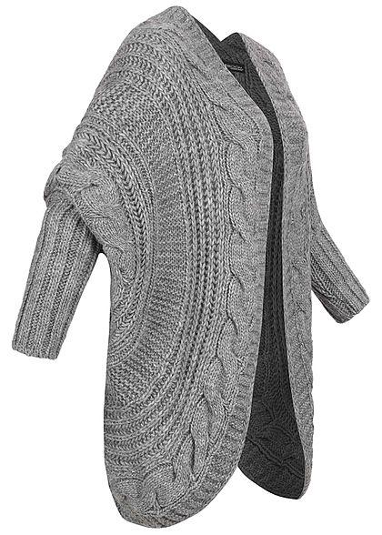 Styleboom Fashion Damen Grobstrick Cardigan Rückenausschnitt dunkel grau