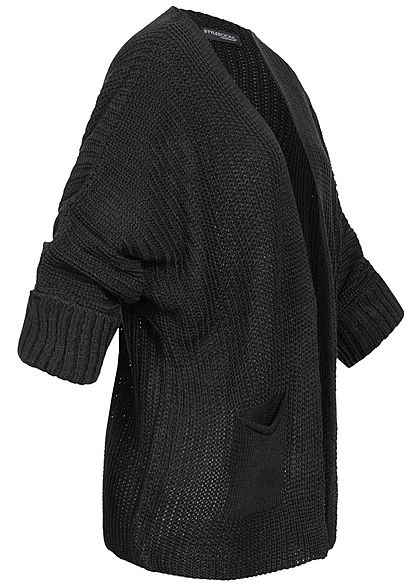 Styleboom Fashion Damen Oversized Strickcardigan 2-Pockets schwarz