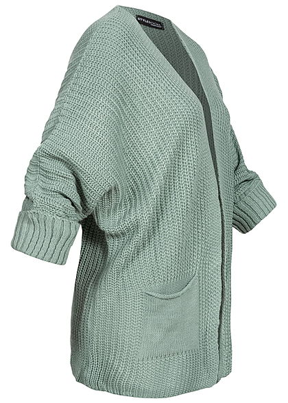 Styleboom Fashion Damen Oversized Strickcardigan 2-Pockets jade grün
