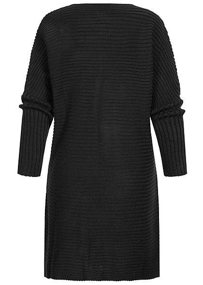 Styleboom Fashion Damen Strickcardigan offener Schnitt schwarz