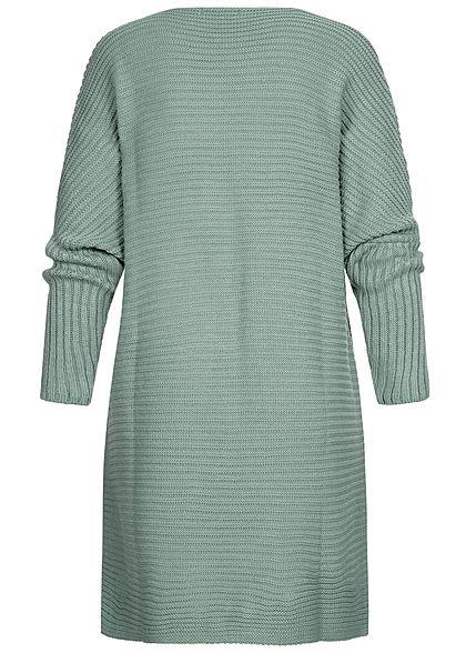 Styleboom Fashion Damen Strickcardigan offener Schnitt jade grün